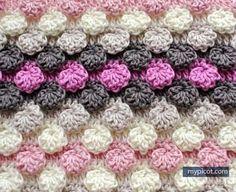 [Free Pattern] Learn A New Crochet Stitch: Crochet Textured Bobble - Shell Stitch - Knit And Crochet Daily Picot Crochet, Crochet Motifs, Crochet Stitches Patterns, Tunisian Crochet, Crochet Chart, Knitting Stitches, Stitch Patterns, Knitting Patterns, My Picot