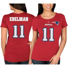 Julian Edelman New England Patriots Majestic Women's Fair Catch V Name & Number T-Shirt - Red - $29.99