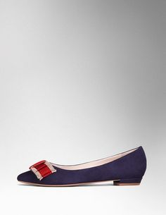 Audrey Bow Flat - Navy suede, crimson and cream ribbon | Boden USA