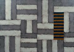 striped painting w/inset by Sean Scully