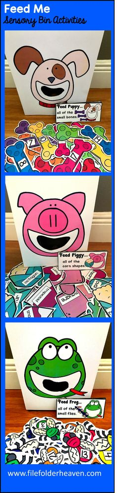 This Sensory Bin Activities Bundles is packed with activities for your Sensory Bin Center, or Sensory Bin small group activities.  These activities focus on numbers, colors, sizes shapes, rhyming words and basic language skills.  Currently included in the bundle are:  Feed Shark Activities Feed Monkey Activities Feed Frog Activities Feed Puppy Activities Feed Kitty Activities Feed Bunny Activities Feed Unicorn Activities Feed Monster Activities