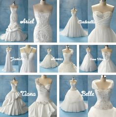 disney princess inspired wedding dresses :)
