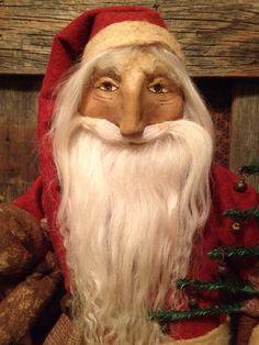 Primitive Folk Art collectable Santa Doll with Teddy Bear on Etsy, $148.00
