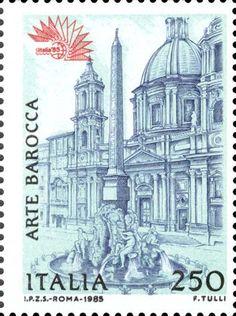 1985 - Italia '85 - facciata della Chiesa di Santa Maria in Agone in Roma