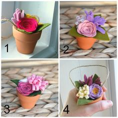 Choose any 3 - Tiny Felt Flower Bouquets in Clay Pots - With or Without Twine Hanger - Mothers Day Gift - Teacher Gift - Hostess Gift