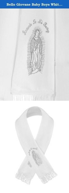 "Bello Giovane Baby Boys White Christening Maria Guadalupe Embroidered Scarf (Medium, Silver). This product is sold exclusively by Bello Giovane. Beware of imitation products. High quality white boy Baptism Christening scarf. Angel embroidered on the scarf. Approx total length: Small for 1-2 years old (35"") / Medium for 2-4 years old (39"") / Large for 5-7 years old (43"")."