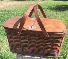 Vintage Antique Hawkeye Refrigerator picnic basket, antique wicker picnic basket, 1900's antique picnic basket, movie prop, photo prop,