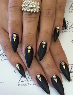 Gold studded rhinestone nails nailart design