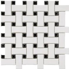Roca Tile White & Black Basket Weave Mosaic