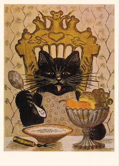 Postcard Drawing by Vasnetsov The Cat 1987 от RussianSoulVintage