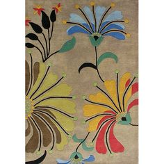 This abstract hand tufted wool rug allows anyone to add a unique modern style to any room in the house. This beige wool rug features several shades of black, rust, blue, and green in an abstract floral pattern. The rug is 6 feet wide by 6 feet long.