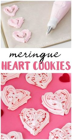 Make these gorgeous meringue heart cookies for a valentines day treat dessert id. Make these gorgeous meringue heart cookies for a valentines day treat dessert idea. How to p Valentine Desserts, Valentines Day Cookies, Valentines Baking, Valentines Day Funny, Valentines Day Dinner, Valentine Treats, Valentine Day Crafts, Kids Valentines, Valentine Food Ideas