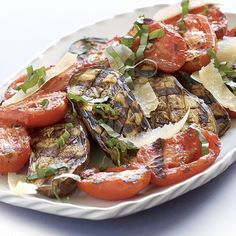 Grilled Baby Eggplant & Plum Tomatoes With Fresh Basil recipe from Fine Cooking. minced fresh th. Grilling Recipes, Vegetable Recipes, Vegetable Dishes, Fresh Basil Recipes, Fruits And Veggies, Grilled Veggies, Vegetables, Grilled Food, Grilled Tomatoes