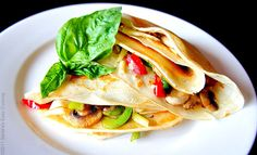 Breakfast Crepes filled with Cheese and Veggies