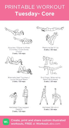 Tuesday- Core:my visual workout created at Health And Fitness Articles, Health Fitness, Fun Workouts, At Home Workouts, Weekly Workouts, Gym Weekly Workout Plan, Fitness Workouts Gym, Back Workouts, Gym Machine Workouts