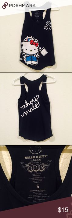 Hello Kitty Navy Sailor Tank Ahoy Mate! Hello Kitty navy colored tank! Very cute tank with Ahoy Mate on the back. Very cute tank, just too small for me. In absolute perfect condition. | Instagram: @Lina.Chen Sanrio Tops Tank Tops