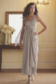 A-Line/Princess V-neck Ankle-length Mother of the Bride Dress With Ruching Beading