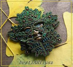 bestiARTiusz: Green Man (soutache mask brooch/ broszka maska sutasz)