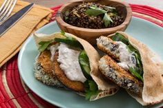 Crispy Eggplant Pitas with Beluga Lentil Salad & Spiced Yogurt