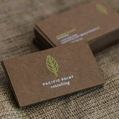 Vibrant Dark Brown Kraft Business Cards with White and Green Neon | JukeBoxPrint.com