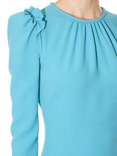 Dolce & Gabbana Ruffle-trimmed long-sleeved cady dress