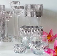 Silver Bling Weddings Decor Set – Vases, Candle Holders, Votive Candles – Ceremony, Bouquet Holder, Cocktail Hour, Reception, Party Décor via Etsy