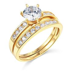 14k Yellow Gold SOLID Wedding Engagement Ring and Wedding...
