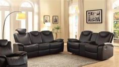 Talbot Contemporary Black Red Bonded Leather Reclining Living Room Set