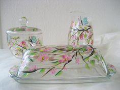 Sugar creamer and butter dish handpainted set