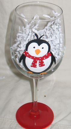 Hand Painted Wine Glass for Christmas!  Mr. Happy Feet would love to be part of your next holiday gathering!  $22