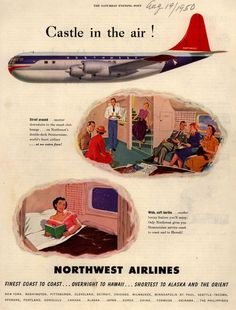 NW Airlines Boeing Stratocruiser.   interior design.  The airline industry seems to have gone in a different direction.