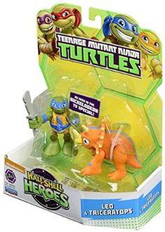 Teenage Mutant Ninja Turtles Half-Shell Heroes Dino Leo and Triceratops Action Figure (Pack of 2)