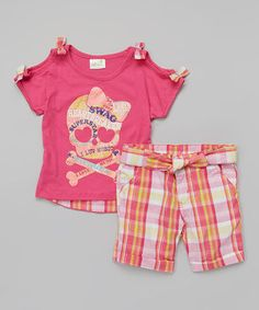 Love this Pink Passion Skull Tee & Plaid Shorts - Infant, Toddler & Girls by Longstreet on #zulily! #zulilyfinds