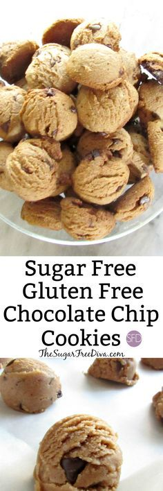 YUM! This recipe is for SUGAR FREE and GLUTEN FREE Chocolate Chip Cookies. WOW! What a great idea for a snack or dessert or even to bring to a potluck or party. We do love our cookies!!
