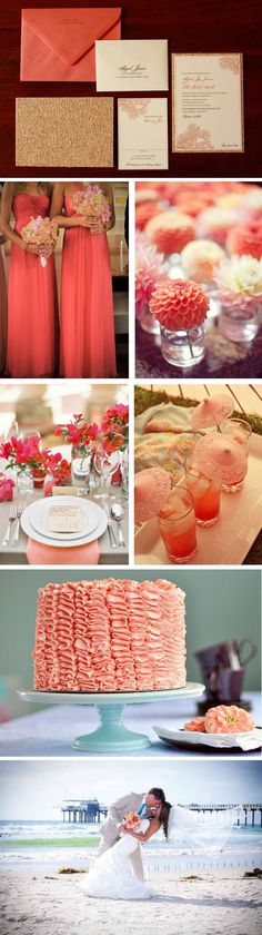 Coral & Gold wedding theme, I like a little grey too!