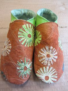 Barkcloth baby shoes, embellished textiles by Sue Plummer