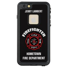 Shop Firefighter Name Template LifeProof iPhone Case created by JerryLambert. Firefighter Mom, Volunteer Firefighter, Firefighter Tattoos, Firefighters Wife, Firefighter Quotes, Firemen, Town Names, 6s Plus Case, Christmas Quotes