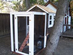 Gallery Beautiful White trim Reclaimed Redwood Chicken Coop
