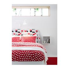 STENKLÖVER Duvet cover and pillowcase(s), white, red white/red Full/Queen (Double/Queen)