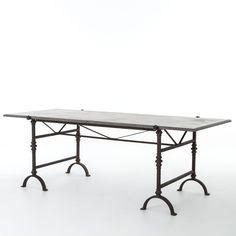 Hughes Farmhouse Bluestone Dining Table-Aged Oak | Tables ...