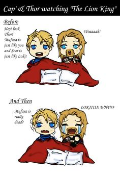 Cap' and Thor watching the Lion King by Red-Kyu.deviantart.com on @deviantART