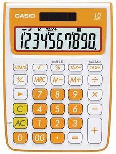 Casio 10Digit Solar Plus Battery Calculator Auto Off Orange New Free US Shipping #Casio