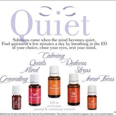 Everyone could use a little quiet in their lives.   Try natural young living essential oils today. https://www.youngliving.com/signup/?site=US&sponsorid=1860433&enrollerid=1860433 email me at cinchomflt@gmail.com
