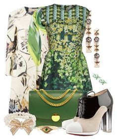 """""""Patterned Coat & Green items"""" by katyusha-kis ❤ liked on Polyvore featuring Marni, Valentino, Laura Biagiotti, Peter Pilotto, Marc Jacobs, Christian Louboutin, Forever 21 and Ileana Makri"""