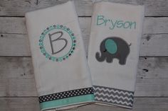 A personal favorite from my Etsy shop https://www.etsy.com/listing/222928577/set-of-2-personalized-burp-cloths