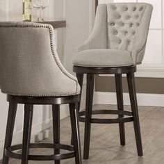 Sort of like this style as a swivel bar stool! Would it be better without a round seat? Dining room chairs have a square bottom Halbrooke Upholstered Swivel Bar Stool in Smoke by Hillsdale Furniture Counter Height Bar Stools, Kitchen Counter Stools, Kitchen Chairs, Home Decor Kitchen, Bar Counter, Wood Counter, Kitchen Furniture, Kitchen Design, Upholstered Bar Stools