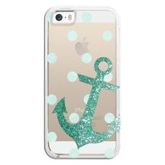 iPhone 6 Plus/6/5/5s/5c Bezel Case - Glitter Anchor with dots in Mint (54 NZD) ❤ liked on Polyvore
