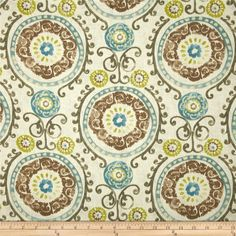 Screen printed on a linen/rayon blend this medium/heavyweight fabric is very versatile and perfect for window treatments (draperies, valances, curtains, and swags), toss pillows and upholstery. Colors include teal, aqua, citrine, brown and ivory.