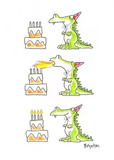 Birthday Dragon by Sandra Boynton Funny Happy Birthday Wishes, Happy Birthday Images, Happy Birthday Greetings, Birthday Messages, Birthday Pictures, Funny Birthday Cards, Happy Birthday Dragon, Birthday Cats, Humor Birthday