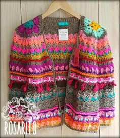 Stricken : Hook, – The Best Ideas Gilet Crochet, Crochet Jacket, Crochet Cardigan, Crochet Granny, Crochet Shawl, Crochet Stitches, Knit Crochet, Crochet Patterns, Hippie Crochet